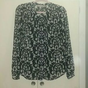 Banana Republic silk blouse black and white S